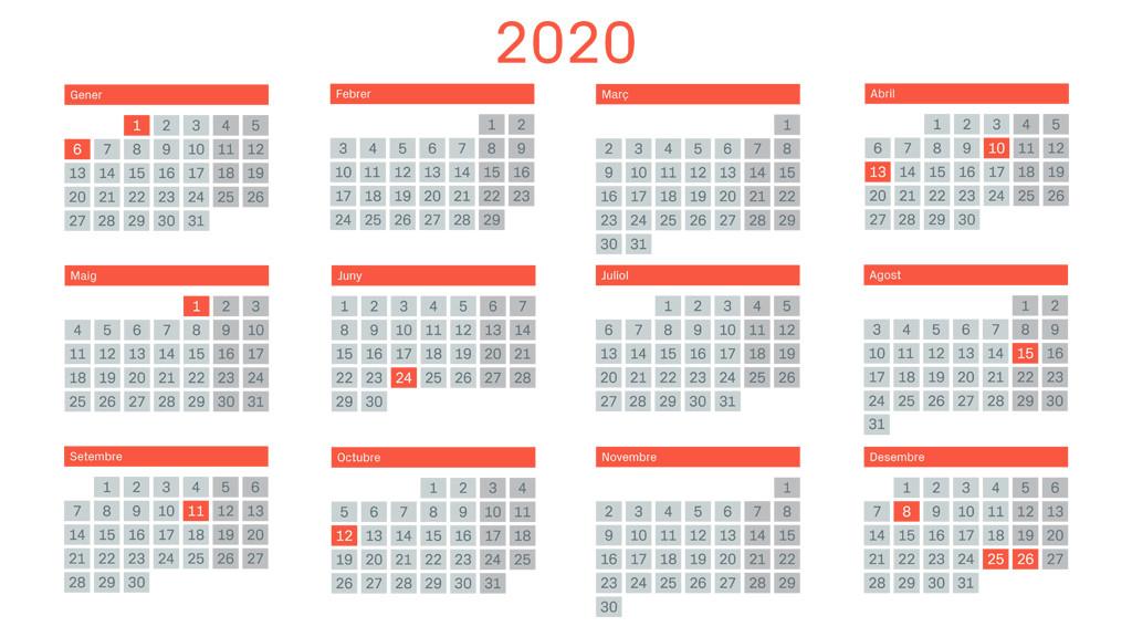 Calendario Diario 2020.El Calendario Laboral De 2020 Casi No Tiene Puentes Pero Si
