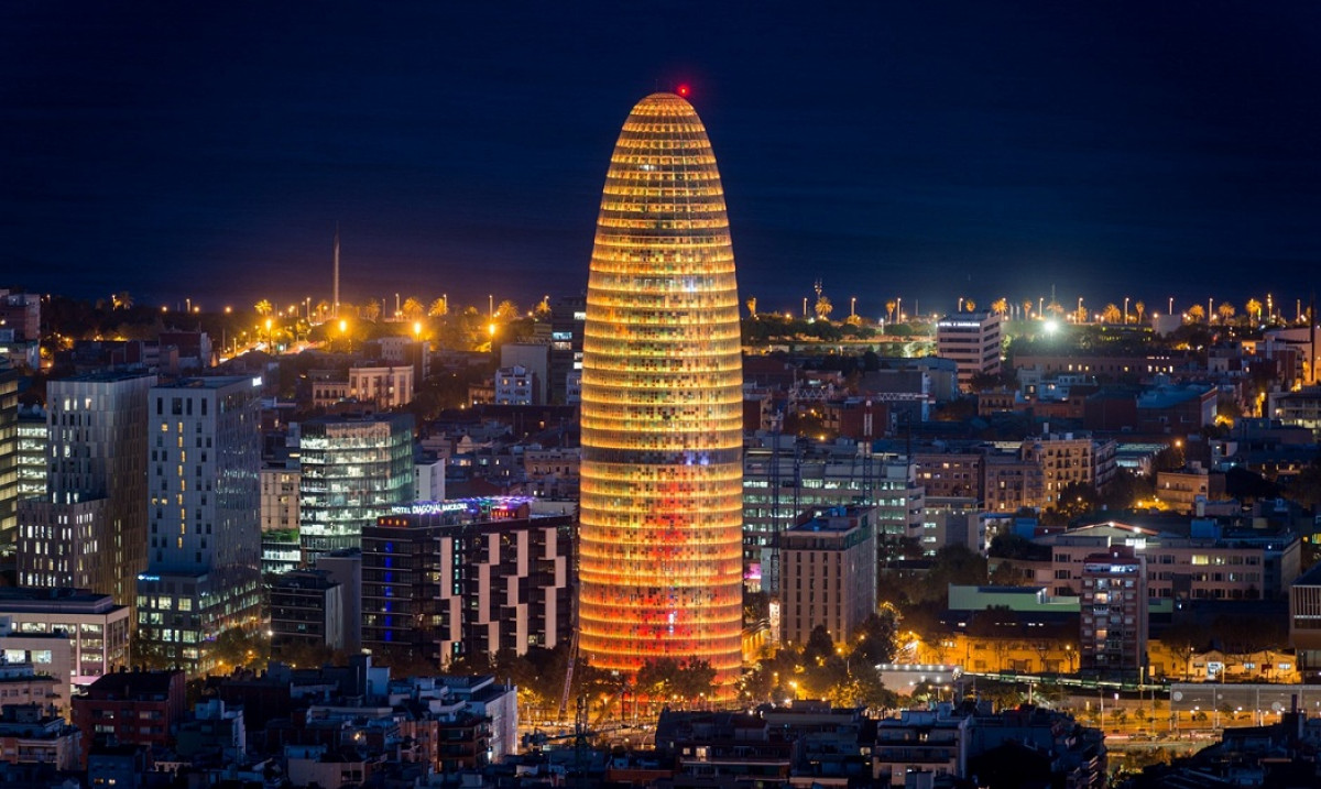 Torre agbar catalunya skyline