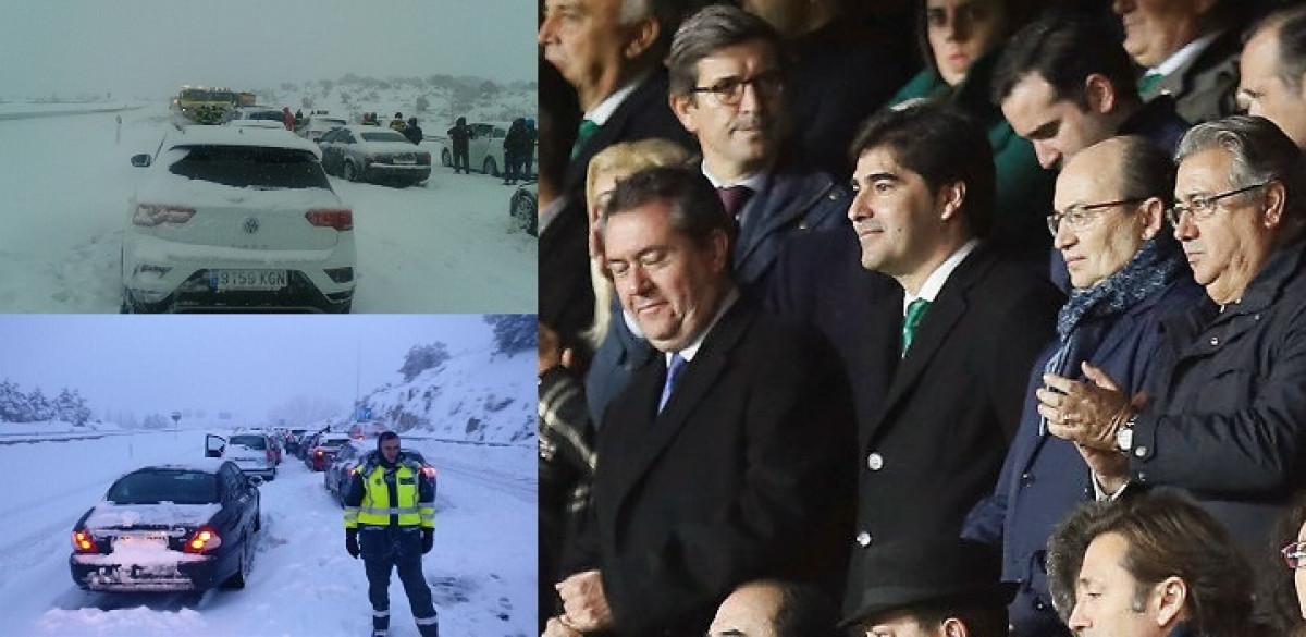 El ministro Zoido en el Sevilla Betis mientras colapso de la AP6