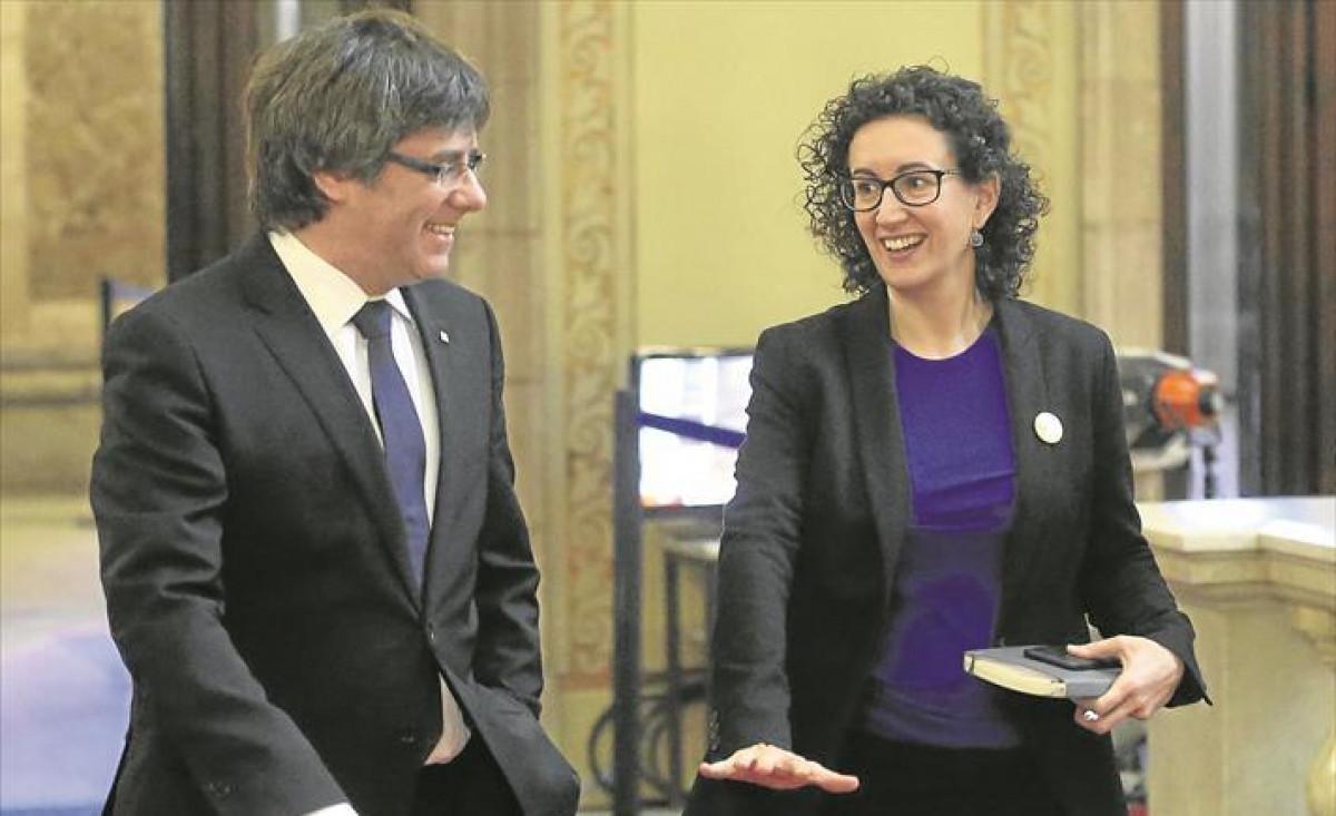 Puigdemont y rovira parlament