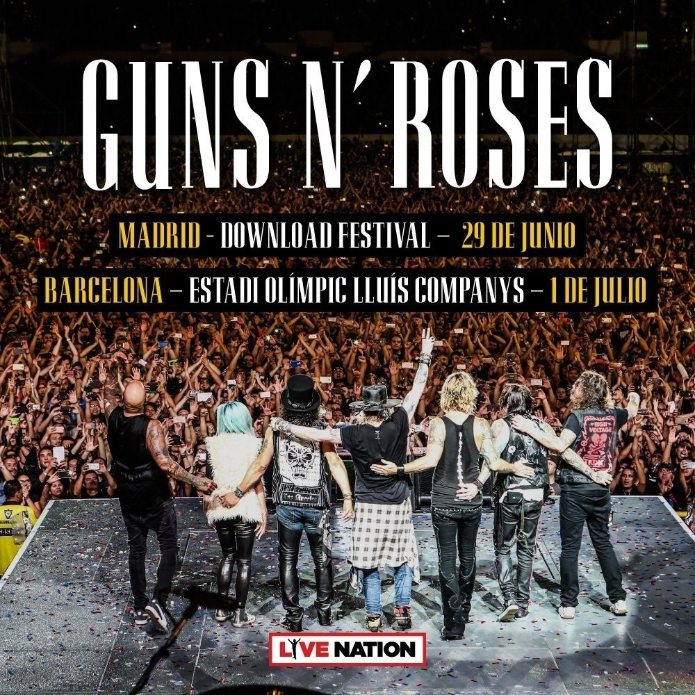Cartel concierto guns n roses barcelona madrid