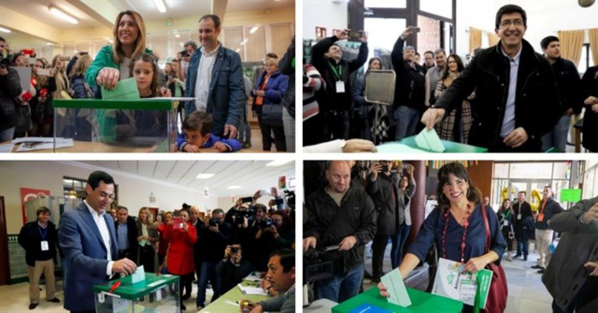 Los candidatos de las elecciones de Andalucu00eda votan