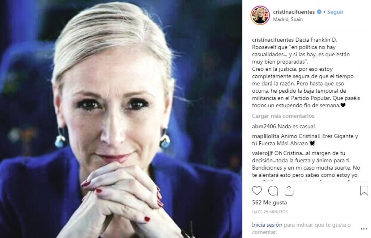 Cristina Cifuentes anuncia en su Instagram que pide la baja temporal del PP