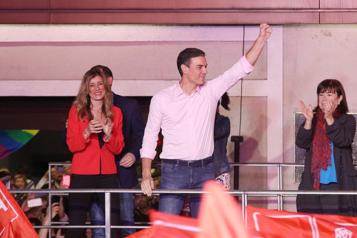 Pedro Sánchez celebra su triunfo en las Generales 2019