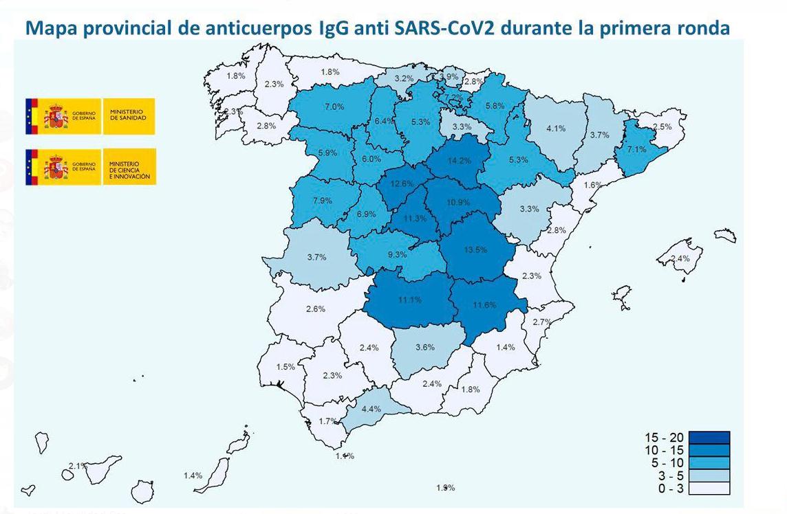 Mapa primera oleada de seroprevalencia