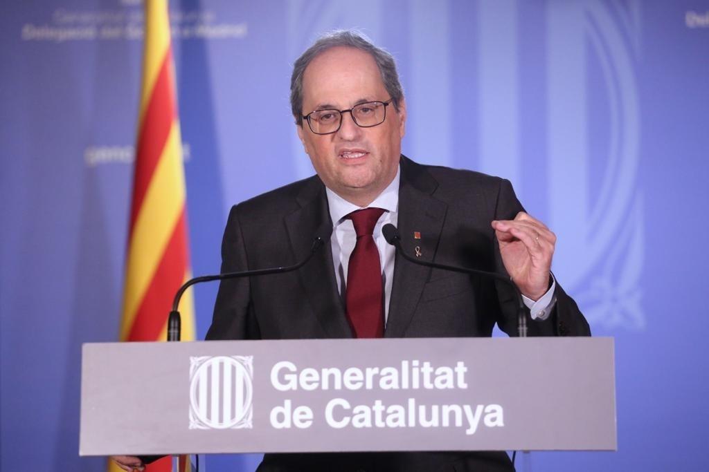 El president de la Generalitat, Quim Torra, després de la vista al Tribunal Suprem sobre la seva inhabilitació
