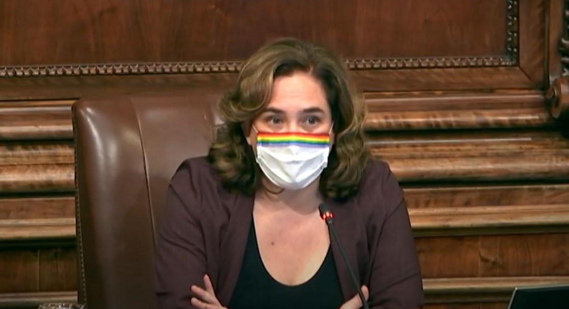 L'alcaldessa de Barcelona, Ada Colau, en l'últim ple municipal de l'any.