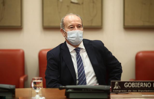 El ministro de Justicia, Juan Carlos Campo, comparece en Comisión de Justicia en el Congreso de los Diputados, en Madrid (España), a 21 de diciembre de 2020.