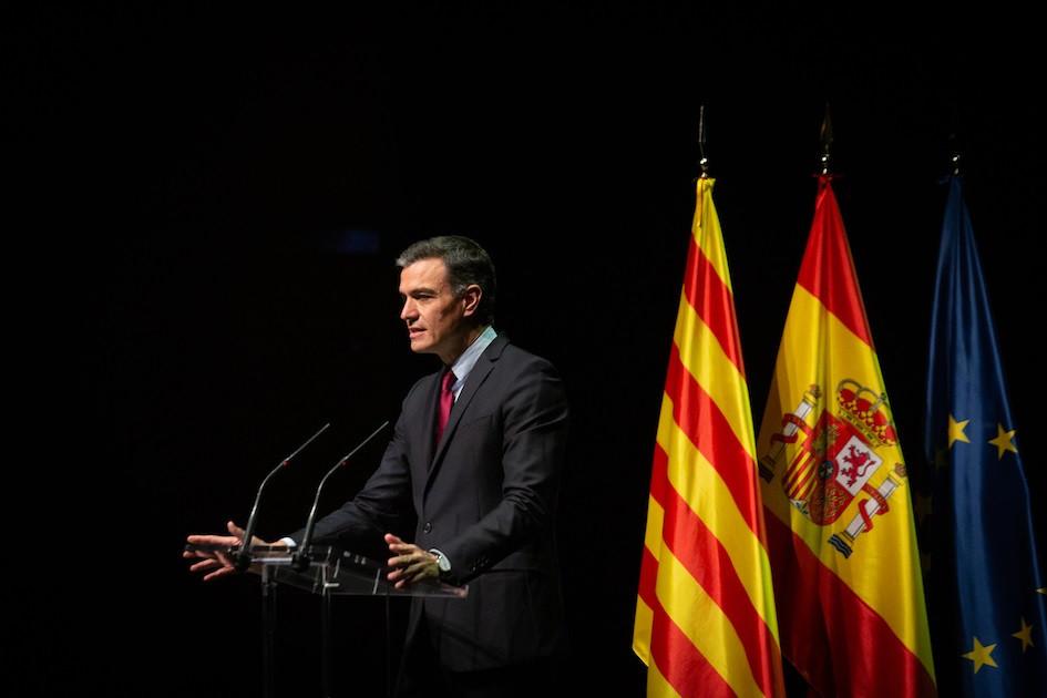 El presidente del Gobierno, Pedro Sánchez, durante la conferencia en el Liceu de Barcelona.